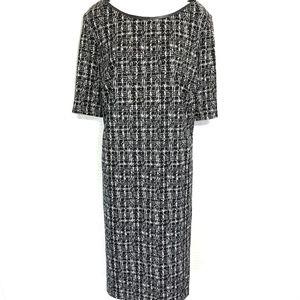DRESS BARN Black & White Stretch Knit Dress ~sz 20